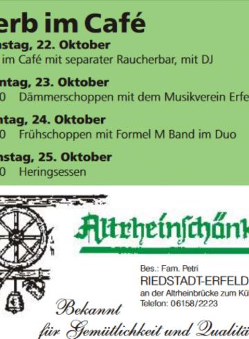 """Frühschoppen im """"Cafe"""" – Altrheinschänke Erfelden"""