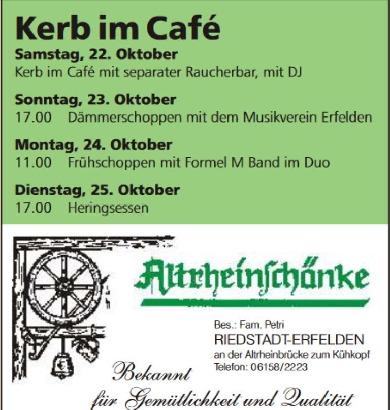 """Frühschoppen im """"Cafe"""" – Altrheinschänke Erfelden «"""